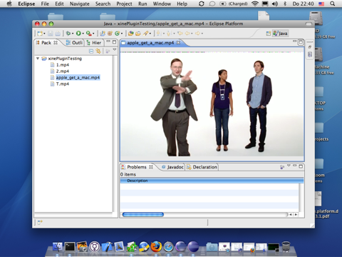 Screenshot of video playing inside Eclipse